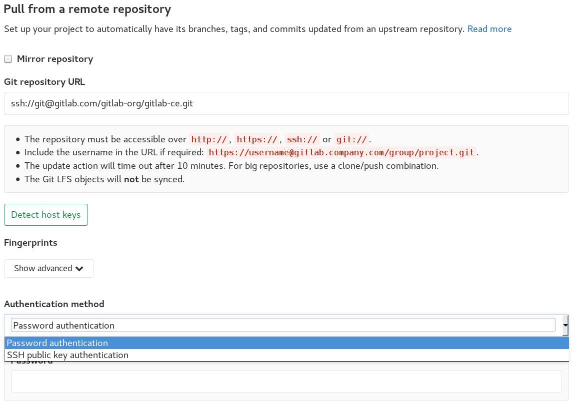 Repository mirroring · Workflow · Help · GitLab